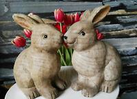 2 x Holzoptik Maserung Hase Hasen Figur Oster Dekoration Osterhase Deko im Set