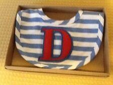 "Nw/oT Boy's Monogrammed ""D"" Striped Bib by Mud Pie, BIN"