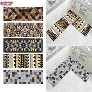 2PCS Home Kitchen Floor Mat Non Slip Runner Anti Fatigue Rug Set Door Decor UK