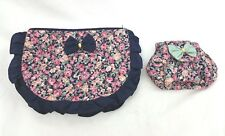 Floral Cosmetic Bags Coin Money Zip Purse Travel Make Up Pair Navy Pink Quilted