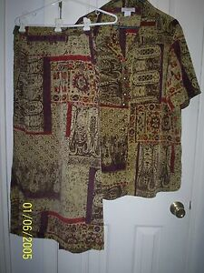 Studio C Classic Collection 2 pc Skirt and Blouse Browns Sz 20