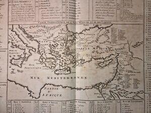 1720s ENGRAVED MAP Folio MEDITERRANEN Asia Minor SYRIA Turkey GREECE Original