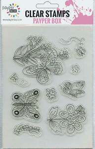 NEW Clear Acrylic Craft Stamp Set Butterflies.
