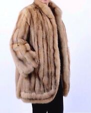 Genuine Natural Golden RUSSIAN SABLE Fur Stroller Coat Jacket  L 10 12