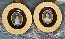 Original ANTIQUE Hand Painted Miniature TWO Portraits *VICTORIAN LADIES* SIGNED