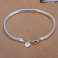 Wholesale 925 Silver Bracelet 3mm Snake chain Men Women Fashion jewelry Gift