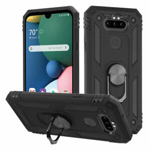 LG Phoenix 5 / Risio 4 - Hard Rubber Hybrid Magnetic Ring Stand Phone Case Cover