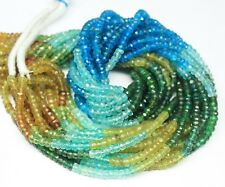"""Natural Multi Apatite Loose Gemstone Faceted Cut Rondelle Beads Strand 14"""" 3mm"""