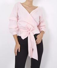 WOMENS LADIES OFF THE SHOULDER WRAP OVER RUCHED RUFFLE BELTED BLOUSE SHIRT TOP