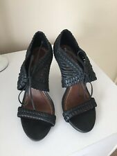 NEW ALLSAINTS REAL LEATHER BLACK HIGH HEEL PEEPTOE LADIES CUT OUT  SANDALS