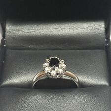 Sapphire And Diamond Ring Beautifuly Set In 14 Carat White Gold Fine Jewelry