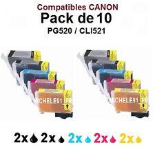 X10 encres compatibles Remplaçants Canon Pgi-520 Cli-521
