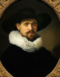 Stunning Oil painting Rembrandt Netherlands Portrait of a Bearded Man on canvas