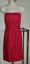 NWT Ann Taylor true red dress empire sheath strapless cocktail boned bodice 8P