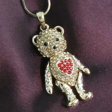 Teddy Bear Pendant Necklace Valentine's Day Love Red Heart Animal Gold Tone NEW