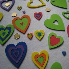 156 Corazones Grandes Huecos de goma EVA Adhesiva,  5 Tamaños, 6 Colores