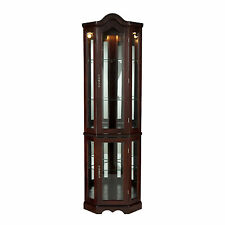 CCC69960 MAHOGANY LIGHTED CORNER CURIO CABINET
