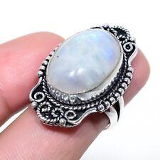 Rainbow Moonstone Gemstone Handmade Fashion Jewelry Ring Size 6 SR-825