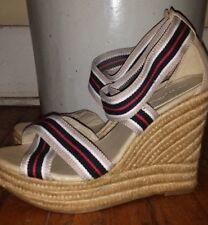 Mia Renegade espadrille tan jute platform preppy stripe wedge patriotic sandals