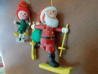 Vintage Wooden Christmas Tree Ornaments Skiing Cross Country Santa & Elf 1970's