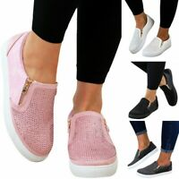 UK Womens Ladies Casual Comfy Slip On Flat Shoes Pumps Trainers Loafers Sneakers