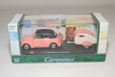 # CARARAMA VW VOLKSWAGEN BEETLE CABRIOLET WITH CARAVAN PINK MINT BOXED