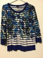 Talbots Size S Blue Floral Cardigan Top Sweater Stylish Women Cotton Blend