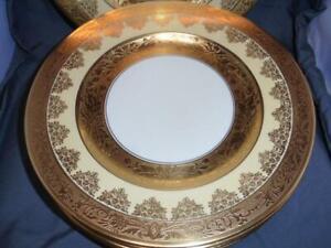 7 Heinrich - H&C  Bavaria  Gold Encrusted Dinner Plates EUC