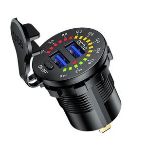12V/24V Dual QC 3.0 USB Car Charger Socket Outlet Power w/LED Digital Voltmete