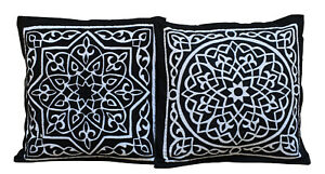Set of 2 Egyptian Handmade Cushion Covers, Patchwork Decorative Pillow Covers