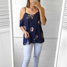 Size 6-16 Women Floral T-shirt Cold Shoulder Strappy Ladies Tunic Tops Blouse UK Deep Blue 6