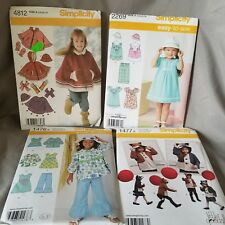 4 Simplicity Sewing Patterns 4812 2268 1476 1477 Girl Dress Cape Jacket Sz 3 - 8