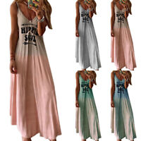 Womens Letters Print Sleeveless Casual Tops Ladies Summer Beach Holiday Dress