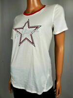 TOMMY HILFIGER Women White STAR Logo Scoop Neck Short Sleeve Blouse Top Plus 0X