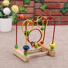 Educational  Wooden Toys Baby Math Game Toy Colorful Mini Around Beads Wire Maze