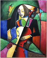 The Violoncellist - Hand Painted Colorful Cubist Oil Painting Wall Art On Canvas