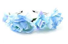 Light Blue Rose Flower Headband Hair Crown Festival Boho Hair Band Garland 3AH