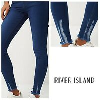 ex-River Island  Bright Blue 'Chewed Hem' Amelie super skinny jeans (6172)
