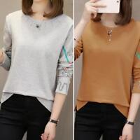 Korean Loose Women Casual T-shirt Soft Long Sleeve O Neck Sports Bottoming Tops