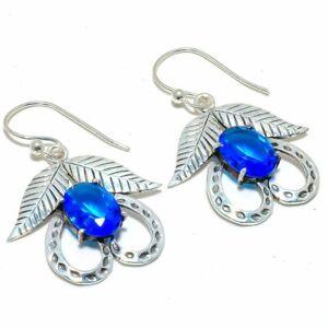 """Blue Topaz Gemstone 925 Sterling Silver Earring 2.0"""" S1977"""