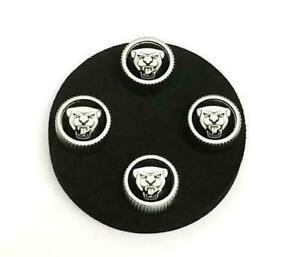New Genuine JAGUAR Black  Growler Tyre Wheel Valve Stem Caps 4x Cap Set