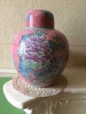Vintage Chinese Ginger Jar Famille Rose Pink Peony & Butterfly