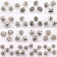 Wholesale 10/20Pcs Tibetan Silver Round Loose Spacer Beads Jewelry Making DIY
