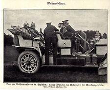 Kaisermanöver in Schlesien. Kaiser Wilhelm im Automobil 1906