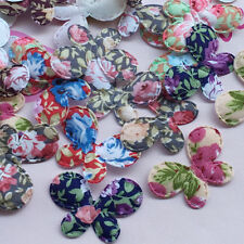 New 80pcs Padded Fabric Flower Butterfly Appliques Doll baby Lots Ornament