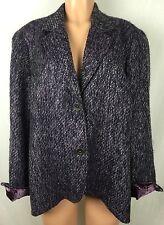 Coldwater Creek 20 22 Lined Velvet Sleeves Tweed Blazer Coat Jacket u