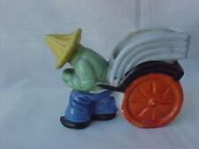 Vintage Japan Pottery Coolie Pulling Rickshaw Planter