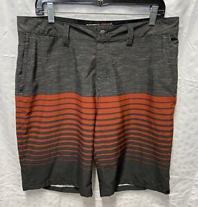 Quicksilver Men's Amphibian Grey/Orange Striped Board Shorts Size 34