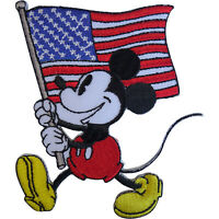 Disney Mickey Mouse USA Flag Patch United States of America Iron Sew On Badge
