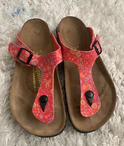 Birkenstock Women Sandal Shoe Papillio Gizeh Floral Size 7.5 Pink Pre Owned